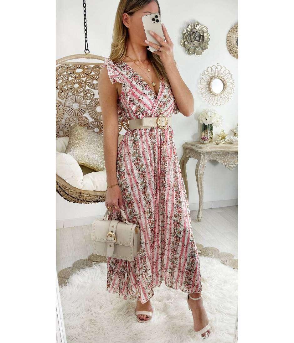 "Ma robe longue cache coeur Pink & flowers ""jolies épaules"""