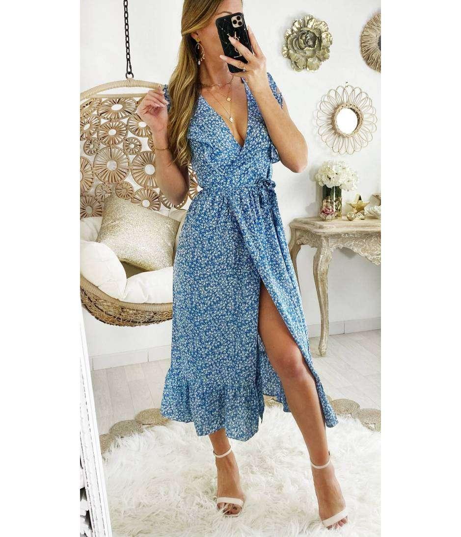 Ma robe longue cache coeur blue & flowers portefeuille