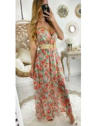 Jolie robe longue voilage fleurie & Gold