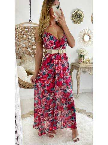 Jolie robe longue voilage Punchy flowers & Gold