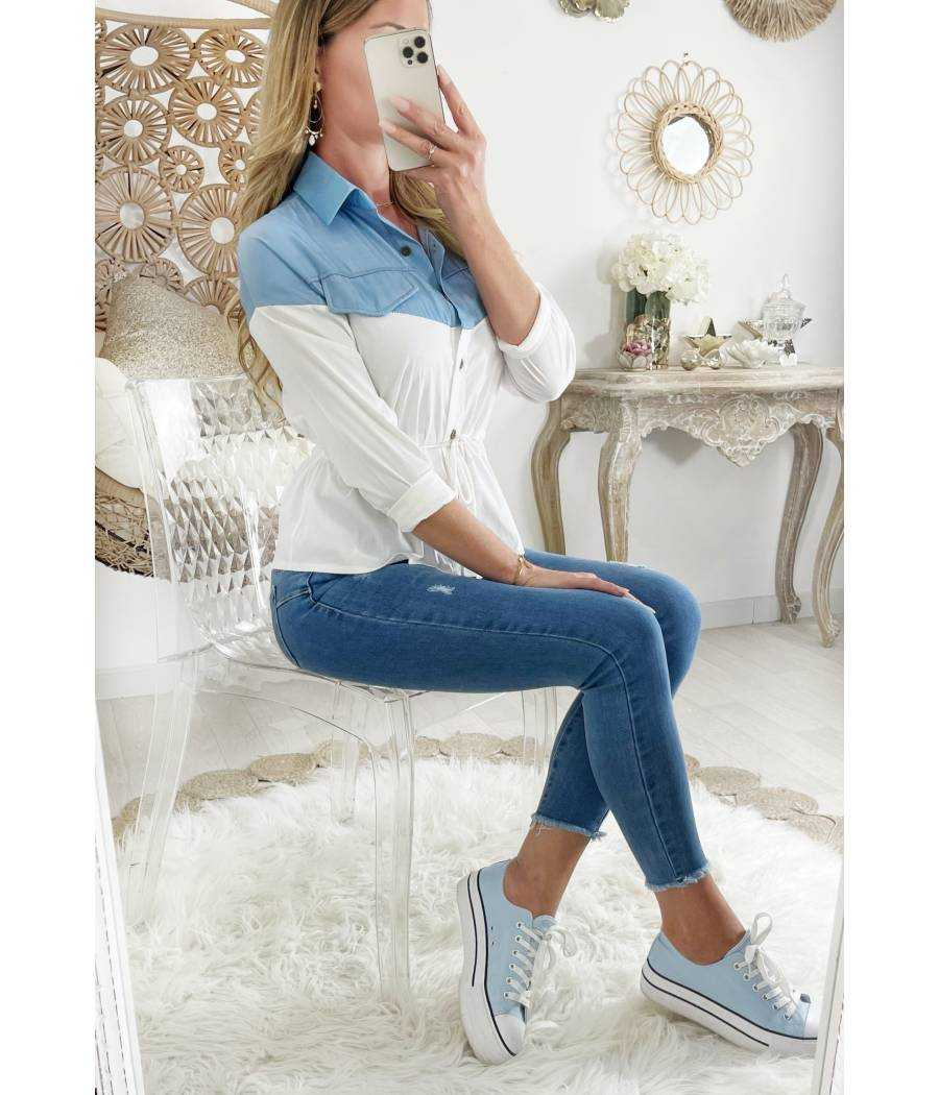 """Mon joli chemisier taille nouée """"White & Blue"""""""