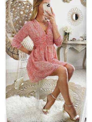 Ma jolie robe corail taille drapée et imprimée