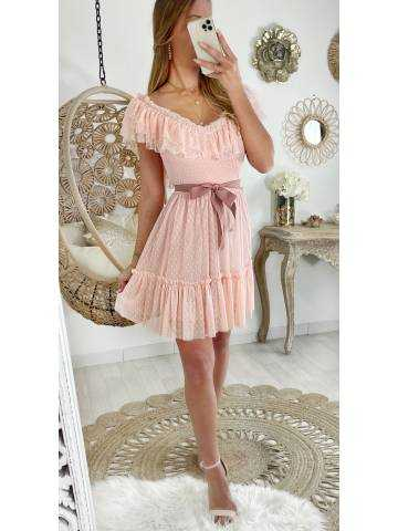 "Ma jolie robe rose pâle tulle et plumetis ""joli ruban"""