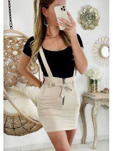 "Ma jolie jupe beige strech ""zip et bretelles"""