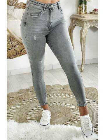 Mon Jeans gris clair taille haute & used