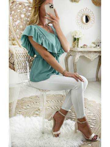 Ma blouse vert d'eau épaules volants et taille marquée