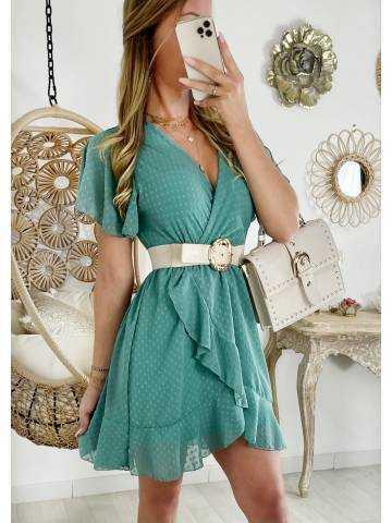 Ma jolie robe vert d'eau cache coeur et plumetis