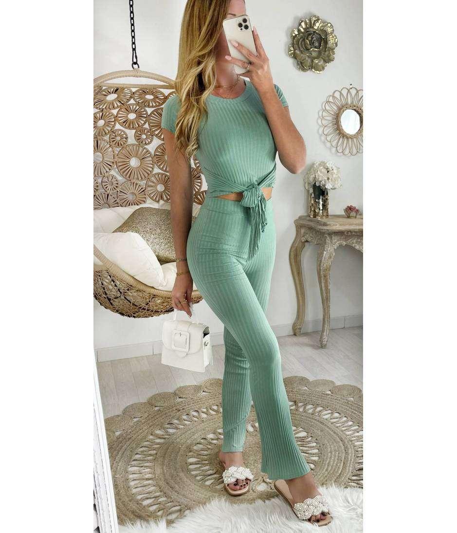 Mon ensemble côtelé crop et pantalon Vert Ô