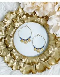 "Créoles  ""charms & Blue Pearls"""