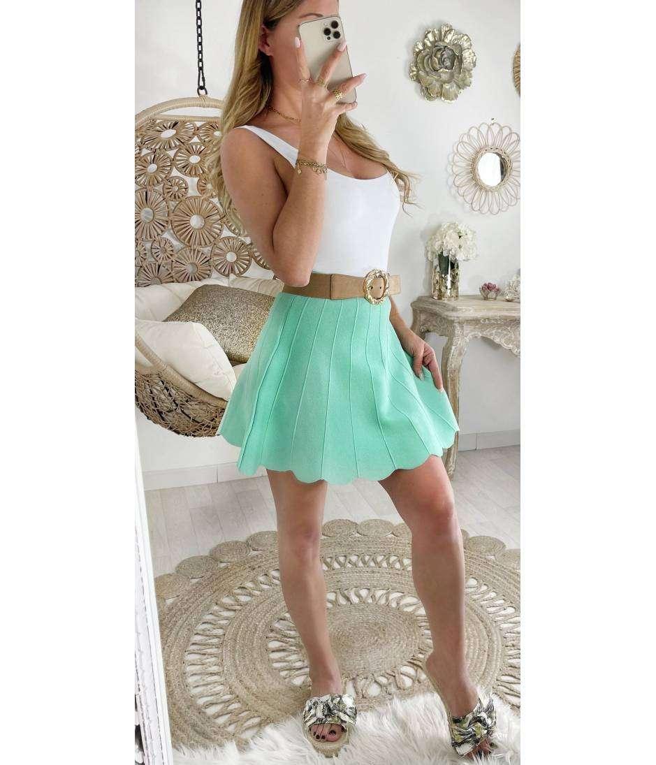 Ma petite jupe en maille plissée vert d'eau