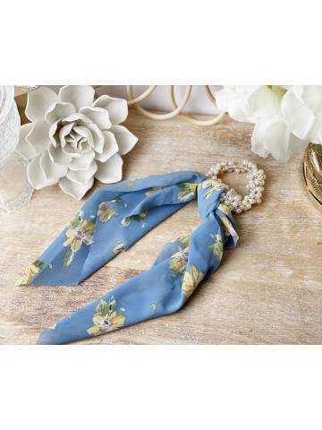 "chouchou perles et foulard ""blue flowers"""
