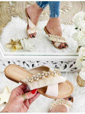 """Mes jolies mules beiges """"fringes & strass"""""""