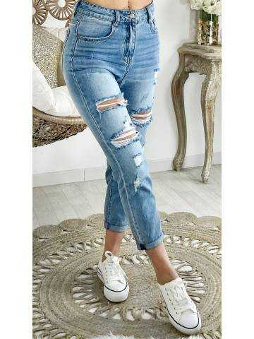 Mon jeans light bleu mum destroy