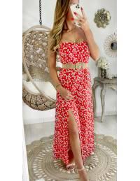 """Ma superbe robe longue fendue """"red & daisy"""""""