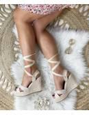 Mes jolies compensées  beige style daim & lacets