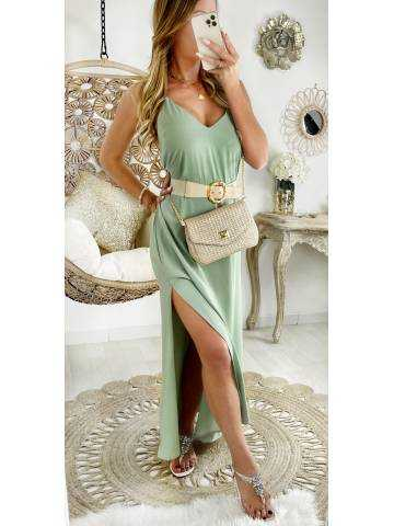 Ma jolie robe longue vert d'eau et dos croisé