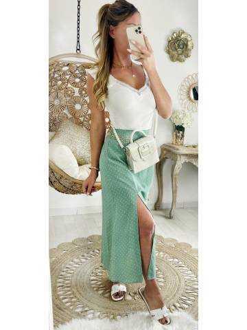 Ma superbe jupe mi-longue et fendue vert Ô et pois blancs