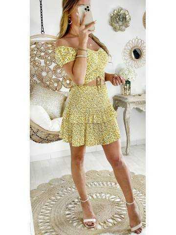 Mon ensemble liberty jaune jupe plissée et crop top