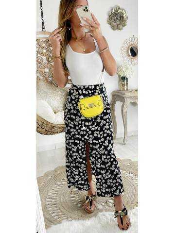 Ma superbe jupe mi-longue boutonnée & daisy