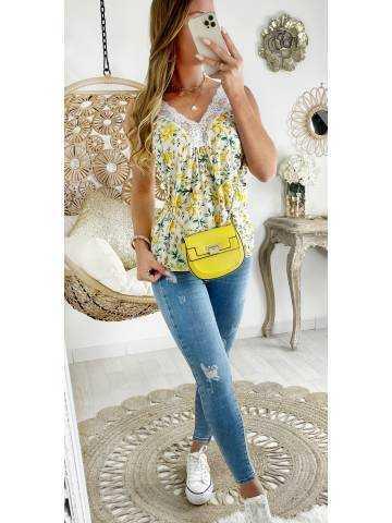 """Mon top blanc fleurs jaunes """"bretelles en dentelle"""""""