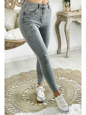 Mon Jeans gris clair taille haute & used II