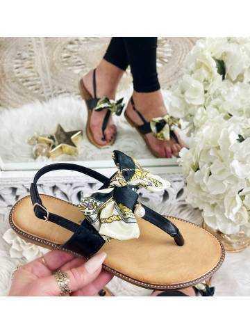 "Mes petites sandales black ""joli noeud satin et perle"""