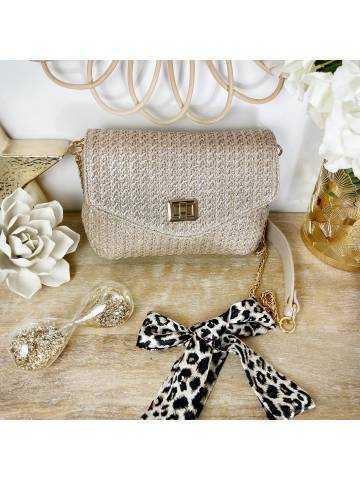 Mon sac beige style tweed & gold