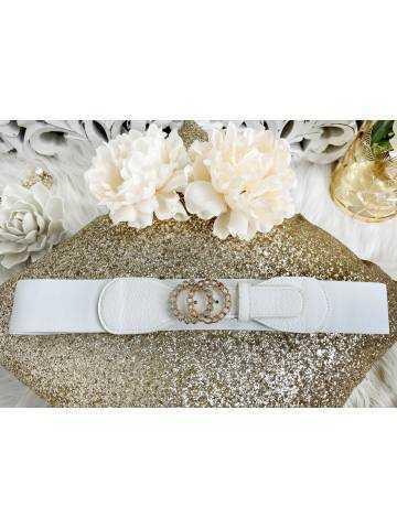 """Petite ceinture élastique blanche """"gold & strass"""""""