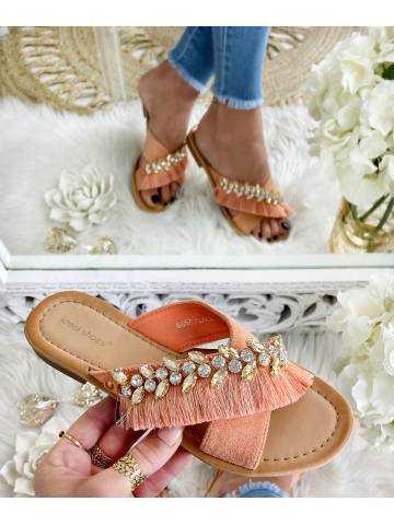 """Mes jolies mules corail """"fringes & strass"""""""