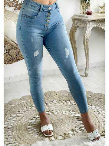 """Mon Jeans taille haute boutonnée """"light blue & used"""""""