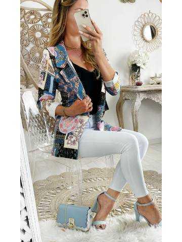 Mon blazer bleu jeans imprimé couture