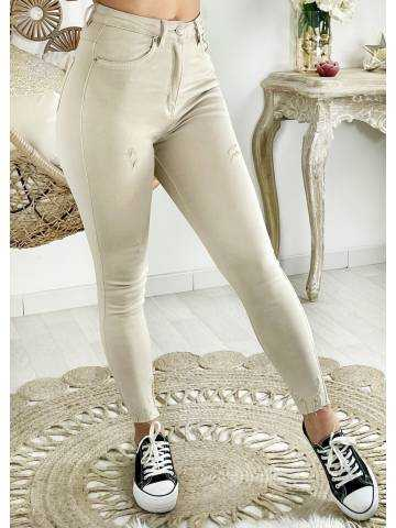 Mon Jeans beige nude taille haute & used