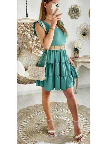 Ma robe vert aqua petites manches et effet volant