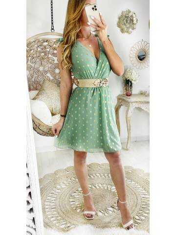 Ma robe cache coeur vert d'eau & touch gold