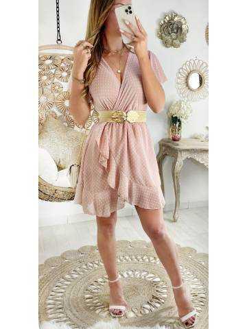 Ma jolie robe rose pâle cache coeur et plumetis