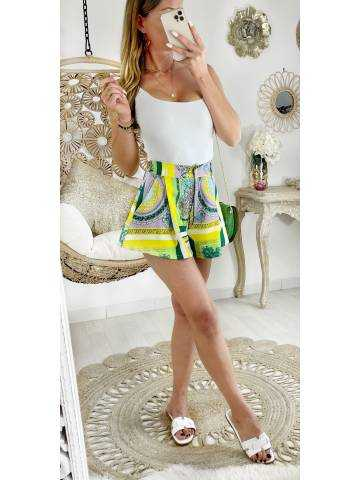 """Mon short fluide style patineuse """"green colors couture"""""""