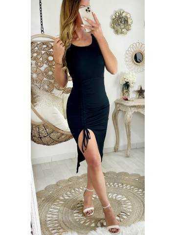 Ma robe longue noire côtelée fendue & froncée