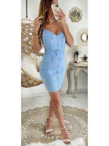 Ma robe bleue ciel stretch et effet boutonné