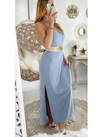 Ma jolie robe longue bleue ciel et dos croisé