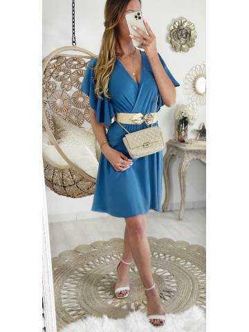 """Ma jolie robe bleue jeans cache coeur """"petites manches volants"""""""