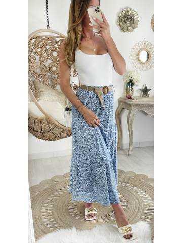 Ma jupe longue blue print et sa ceinture