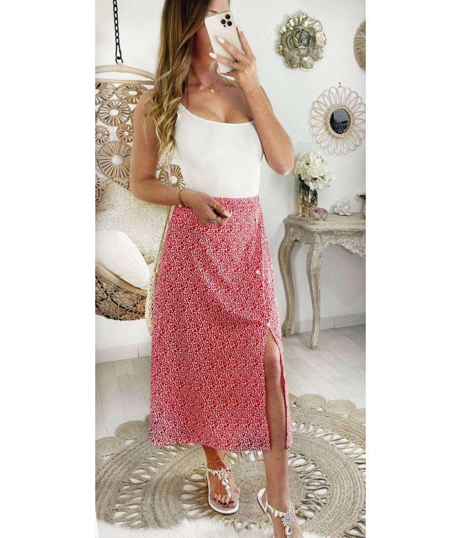 Ma jolie jupe mi-longue rouge liberty