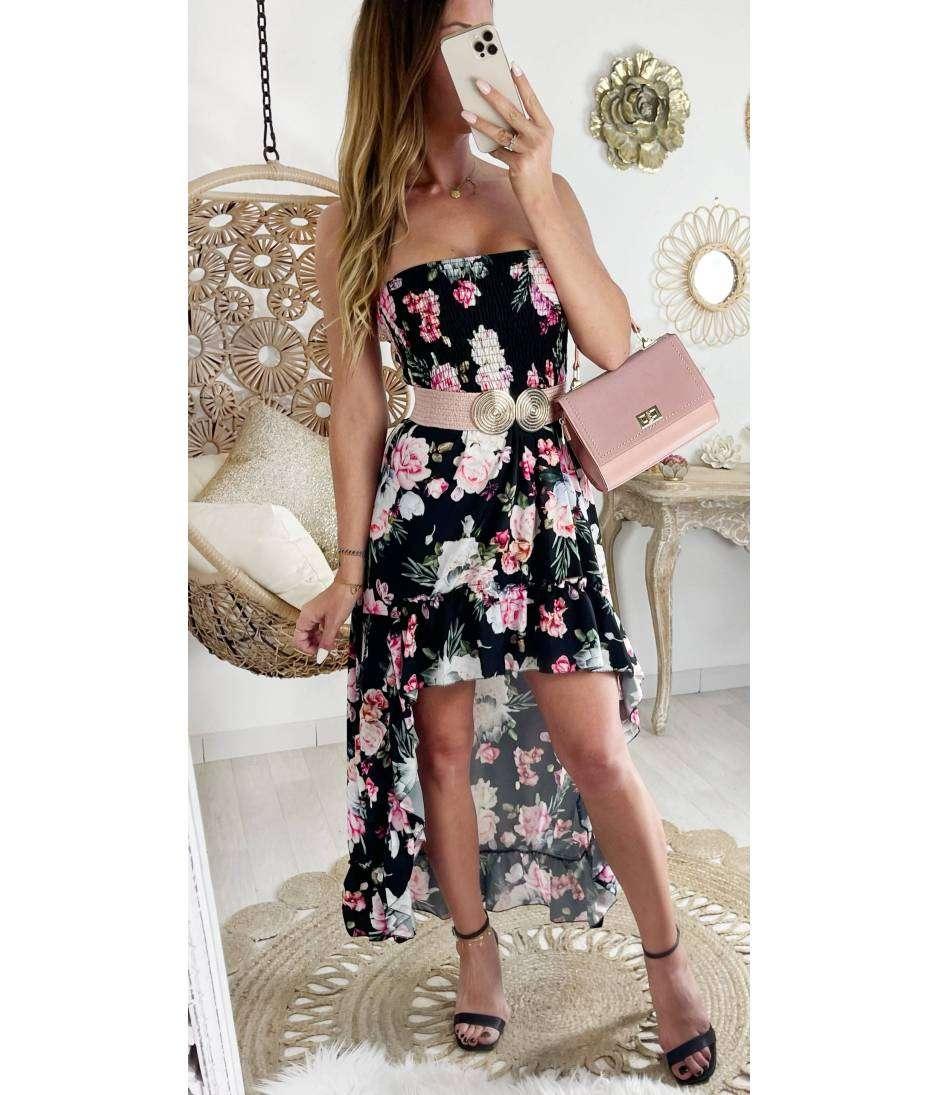 """Robe bustier noire asymétrique """"pink roses"""""""