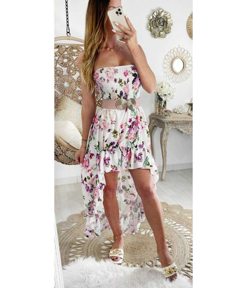 "Robe bustier blanche asymétrique ""pink roses"""