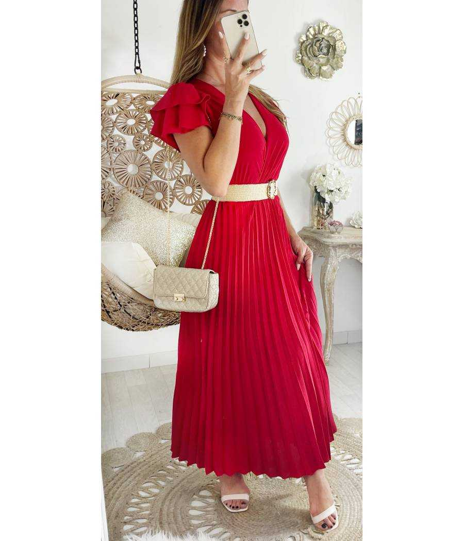 Ma jolie Robe longue rouge plissée et cache cœur