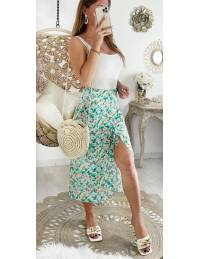 Ma jolie jupe mi- longue vert fleuri et froncée