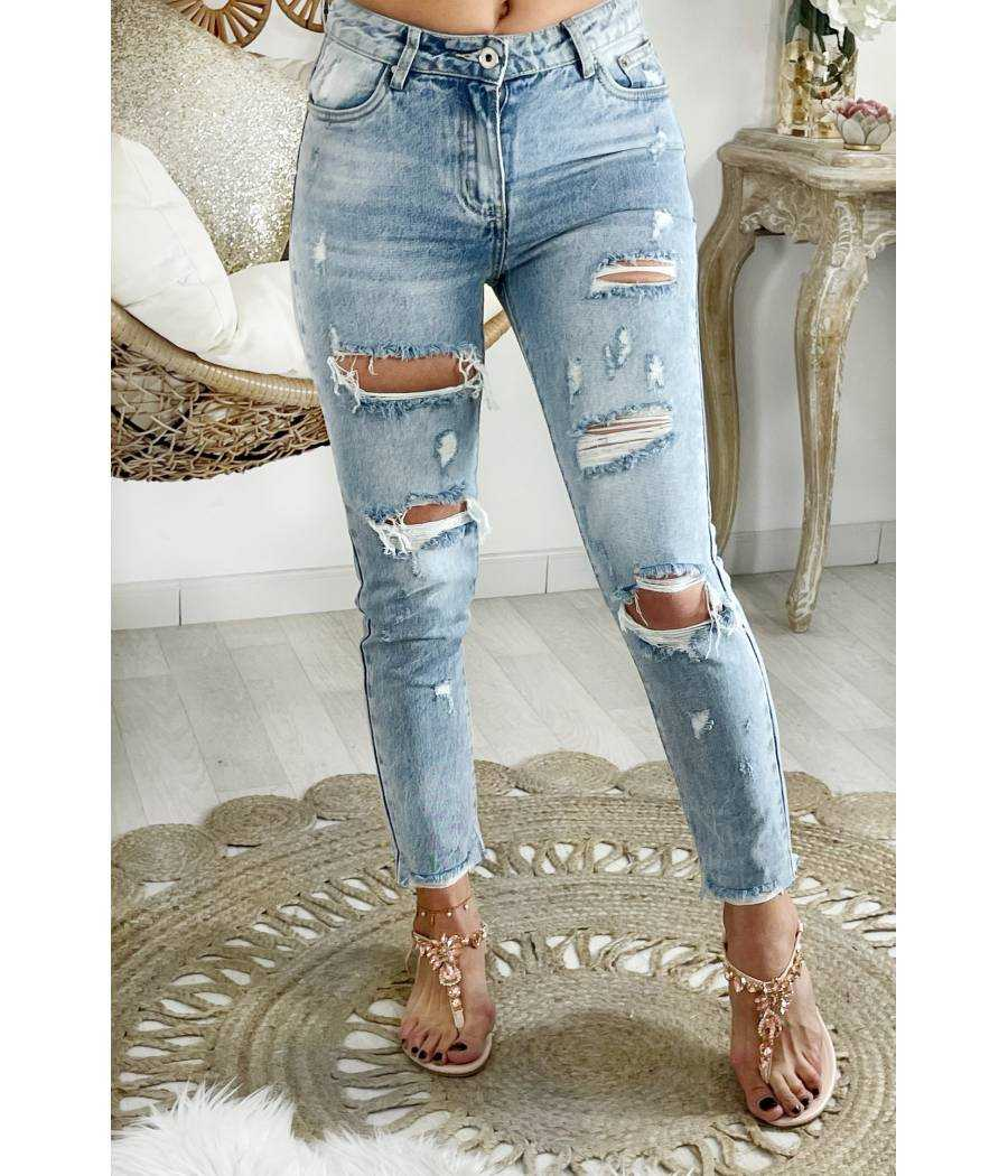 Mon jeans light bleu mum maxi destroy