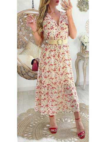 "Ma jolie robe mi-longue voilage ""beige & red flowers"""