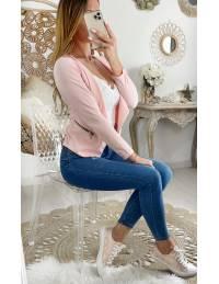 """Petite veste rose pale """"zippée"""""""