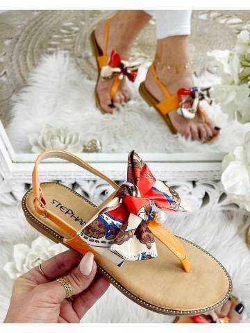 "Mes petites sandales orange ""joli noeud satin et perle"""